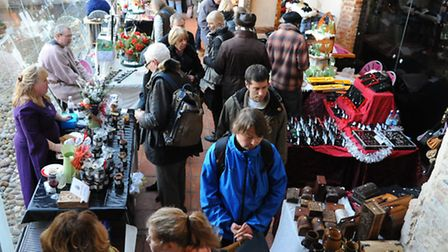 The busy Medieval Market at Dragon Hall. Picture: Denise Bradley