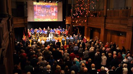 The Festival of Remembrance held at St George's Theatre in Great Yarmouth.Poppies fall from above wh