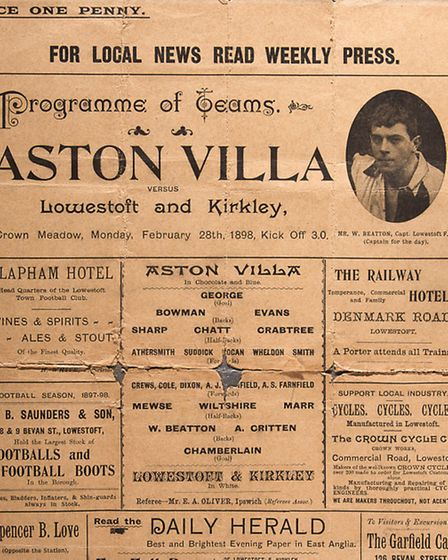 The 1898 Lowestoft v Aston Villa football programme.It features, in the top right hand corner, a pic
