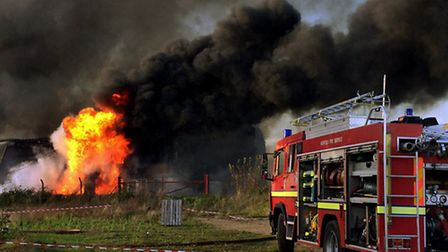 The fire at the warehouse in North Pickenham. Picture: Stephen Huntley