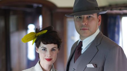 David Walliams and Jessica Raine who will star in the new Partners in Crime television series.(C) En