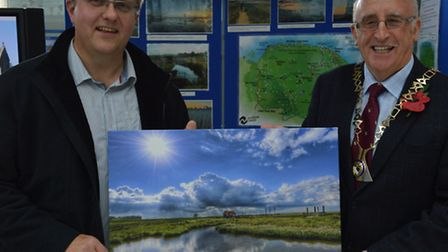 Norfolk Trails photo competition winner Gary Pearson with Brian Hannah, chairman of Norfolk County C