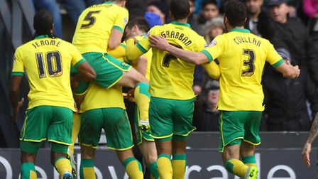 Norwich City players celebrate Steven Whittaker's late equaliser. Picture: Paul Chesterton / Focus I