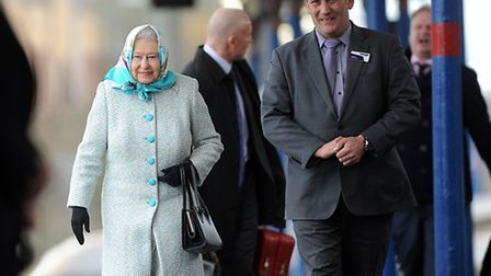 The Queen arrives at King's Lynn station for her Christmas break at Sandringham, with her is station