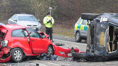 The scene of the crash on the A47 slip road at Thickthorn roundabout. Photo: Bill Smith