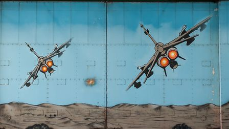 First Gulf War murals in the hangars at RAF Coltishall. Photo: Bill Smith
