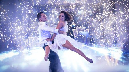 Pasha Kovalev and Caroline Flack on the live show of Strictly Come Dancing. Photo credit: Guy Levy/B