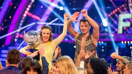 Pasha Kovalev and Caroline Flack who are the winners of Strictly Come Dancing 2014. Photo credit: Gu