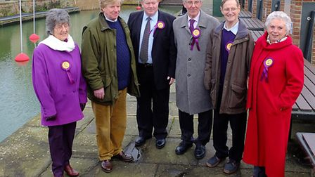 Toby Coke (second left) with the five councillors who have joined UKIP - from left, June Leamon, Pau
