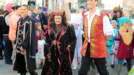 Snow White's Fairy Tale Christmas Parade taking place in Lowestoft town centre.Led by Southwold and