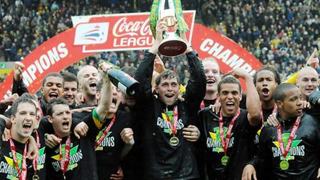 Norwich City V Carlisle United; Grant Holt lifting the League One trophy. Photo: Nick Butcher.