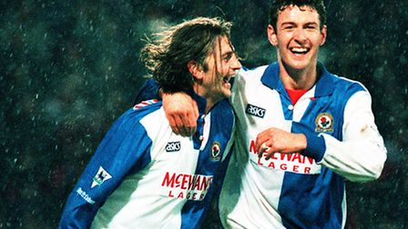 Chris Sutton (right) celebrating a goal for Blackburn with Tim Sherwood. Picture: Adam Butler/PA Wir