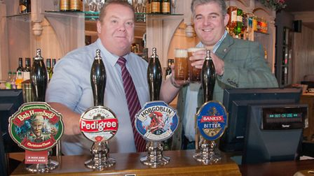The Grayling pub opens in Great Yarmouth. Manager Andrew Williamson with GY MP Brandon Lewis