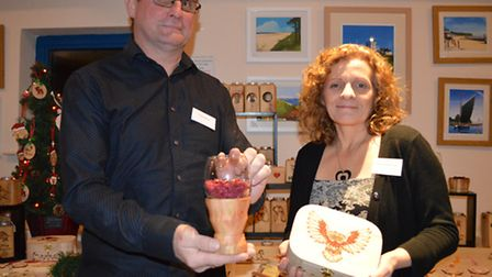 Enterprise North Norfolk start up awards -Terry Money and Paula Robertshaw with their pyrographic wo