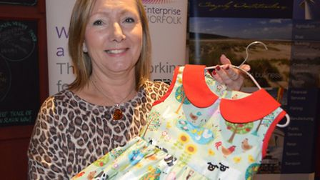 Enterprise North Norfolk start up awards - Alison Cushing with one of her vintage clothing creations