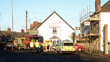 Emergency services on the scene of an RTC close to Loke Road, King's Lynn. Picture: Ian Burt
