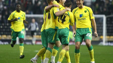 FROM THE ARCHIVE: Derby County 1 Norwich City 2 - December 2010. Chris Martin celebrates City's seco