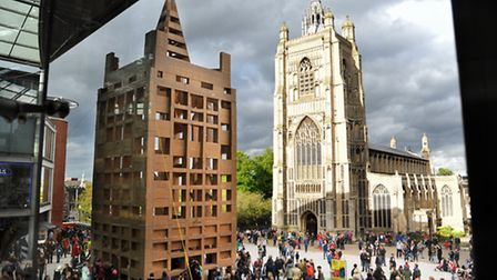 The People's Tower - a cardboard replica of St Peter Mancroft Church built during the 2014 Norfolk