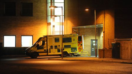 Ambulances parked up outside the accident and emergency department of the Norfolk and Norwich Univer