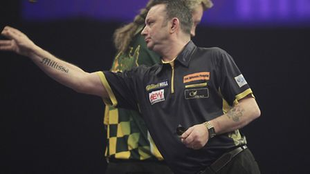 Darren Webster on his way to a first-round victory at Ally Pally. Picture: PA