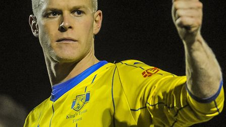 Michael Frew will be hoping it's thumbs-up for the Linnets at Barwell. Picture: MATTHEW USHER