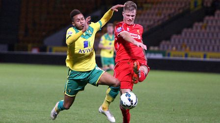 Norwich Citys U21s' Josh Murphy stretches for the ball against Liverpool U21s squad at Carrow Road.