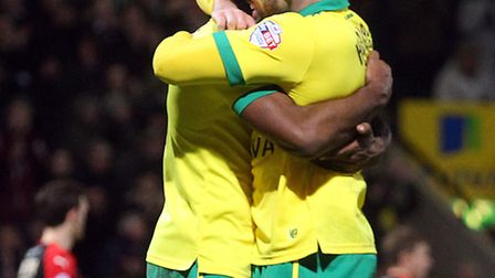 Cameron Jerome and Gary Hooper are forging a potent partnership at Norwich City. Picture by Paul Che