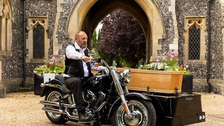 Alec Butcher's funeral business, Funeral Motorcycles, allows a coffin to be put onto a sidecar on a