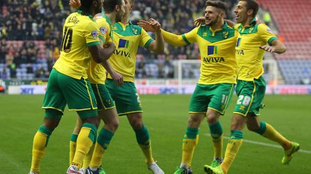 Jonny Howson of Norwich celebrates scoring his sides first goal during the Sky Bet Championship matc