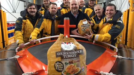 The crew of Caister lifeboat have been handed 30 Christmas turkeys by Bernard Matthews, supporters o