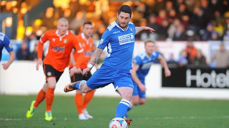 Conference North.Lowestoft Town v Gainsborough Trinity at Crown Meadow.Jack Ainsley penalty.Picture: