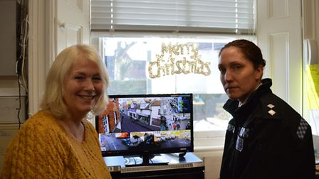 Deputy mayor Brenda West and Insp Kersty Brooks view images from the revamped CCTV system in North W