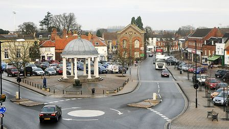 Swaffham Town Centre. Picture taken from the top window of Swaffham Museum.PHOTO: IAN BURTCOPY:FOR:E