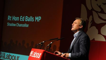 The East of England Labour Party conference at the Cameo Hotel in Copdock. Ed Balls speaking.