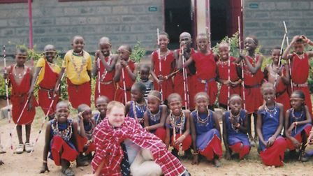 Evan with some of the children from the Massai village.