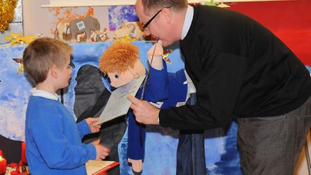 George Freeman visits children at Chapel Road School in Attleborough when they unveil their new scho