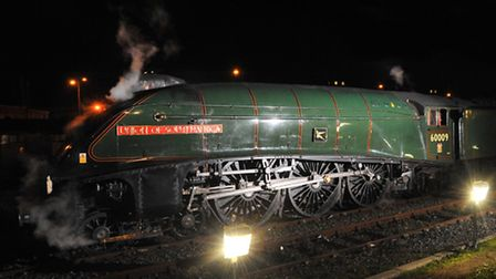 A4 Pacific locomotive Union of South Africa arrives at Norwich station to overnight before it's pass