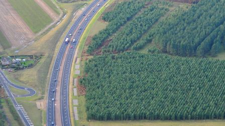 The soon to open dual carriageway on the A11 at Elveden, Norfolk. Photo : Steve Adams