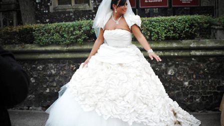 My Big Fat Gypsy Christmas - Bride Barbara in her dress outside the church on Regent Street. Picture