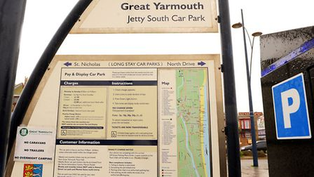 The Jetty South pay and display car park sign on Marine Parade in Great Yarmouth.Picture: James Bass
