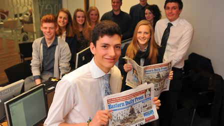 The 2014 Young Norfolk Daily Press team making their first steps in the world of newspaper productio