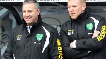 Norwich City manager Neil Adams and first-team coach Gary Holt before the Sky Bet Championship match