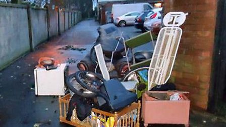 Waste dumped illegally at Sidegate Road, Hopton
