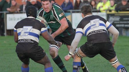 Ian Webster on the charge for North Walsham against Chingford. Picture: Hywel Jones