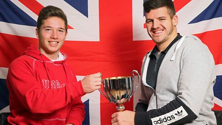 Alfie Hewett (left) and David Phillipson with their men's doubles national trophy.