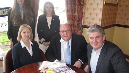 Brandon Lewis MP with students Chloe Hunt and Fleur Curson with staff from Inspired Youth for Takeov