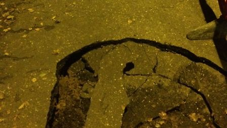 A lorry sunk into the pavement in Victoria Road in Diss, leaving behind two large holes. One of the