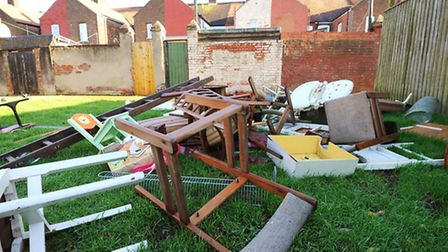 Rubbish fly tipped behind houses off Lawn Avenue in Great Yarmouth. Picture: James Bass