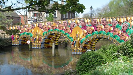 Bishops Bridge in Norwich is reimagined by Ben Gadsby-Williams with 100 pictures of the Rt Revv Grah