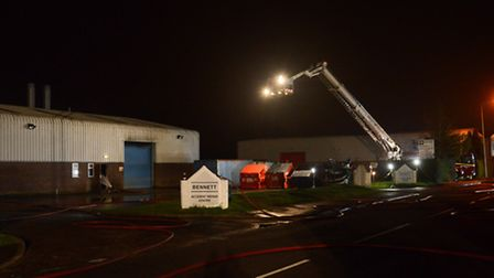 Emergency services on the scene of a fire on the North Lynn Industrial Estate. Picture: Ian Burt